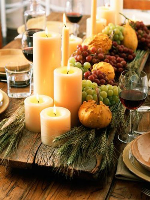 20 fruit centerpieces for every season woman getting married for Thanksgiving centerpieces with candles