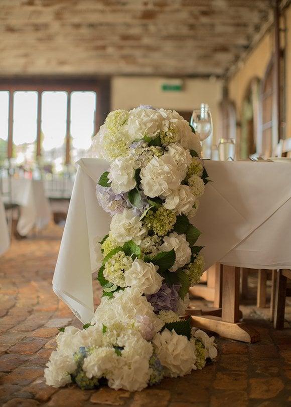 wedding flowers hydrangeas woman getting married