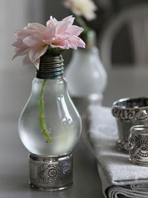 Lightbulbs as bud vases
