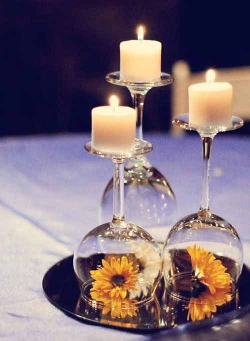 15 Unique Wedding Centerpieces. Upside down wine glasses