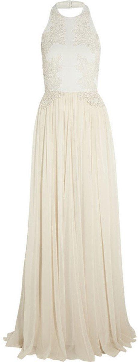 Elie Saab Guipure lace-appliquéd stretch-knit and silk-chiffon gown • Elie Saab • $2,600