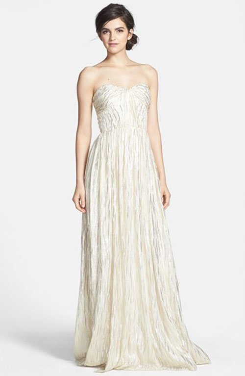 ERIN erin fetherston 'Coralie' Foiled Silk Chiffon Gown • Erin Fetherston • $395