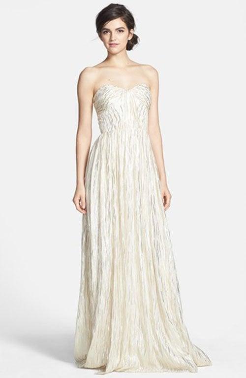 ERIN erin fetherston 'Coralie' Foiled Silk Chiffon Gown • Erin Fetherston • $395