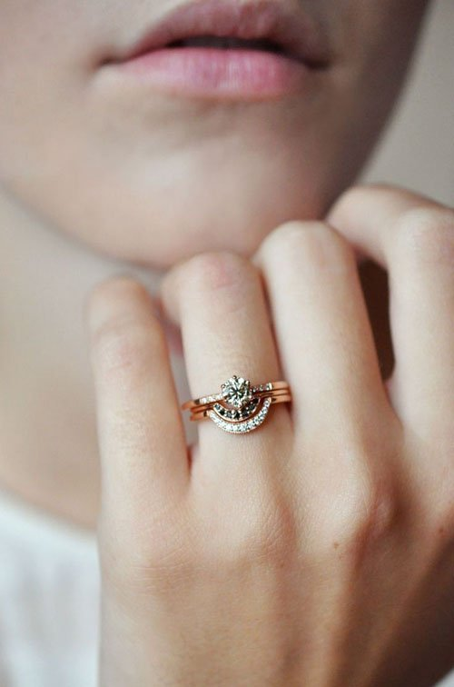 wedding set fresh diamond and idea rings of engagement womens ring gold band stacked stacking alternative stack modern