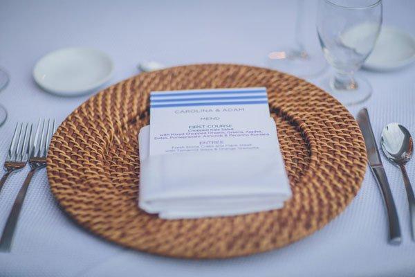 beach wedding menu