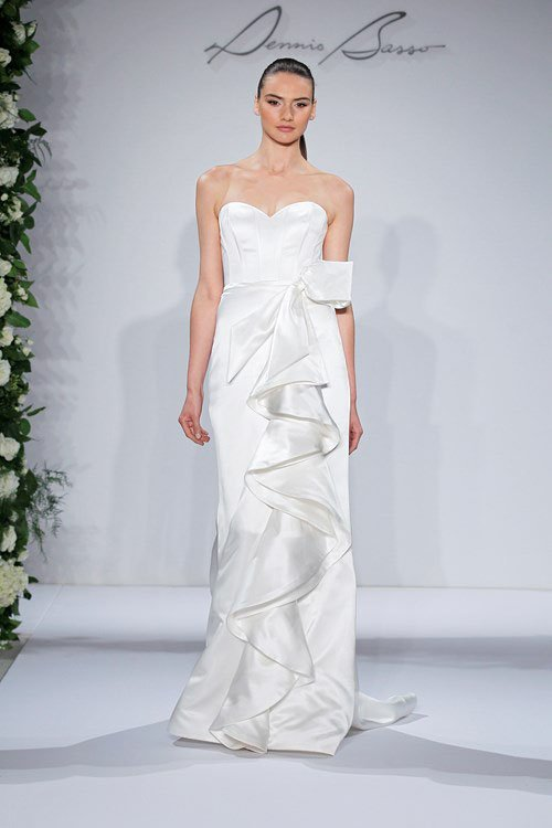 Dennis Basso Sweetheart A-Line Gown in Satin