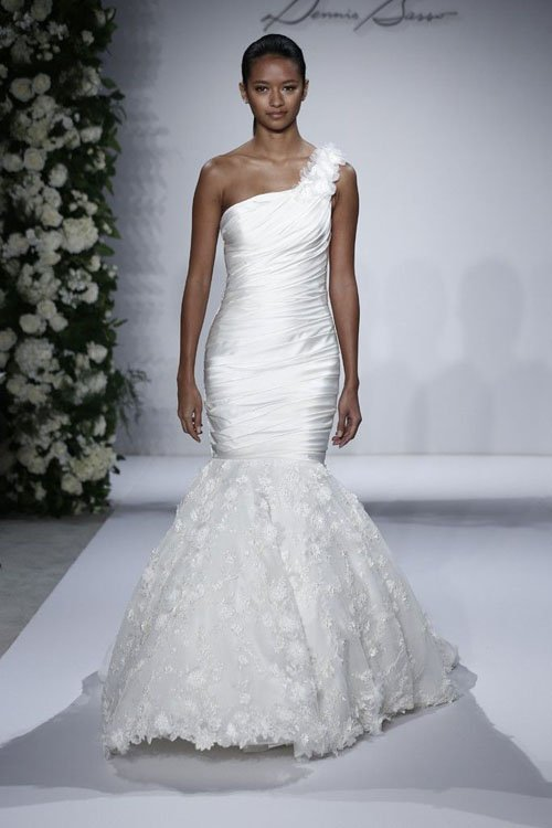 Dennis Basso Tip of the Shoulder Mermaid Gown in Beaded Lace