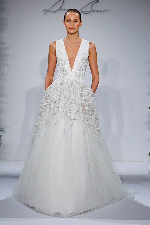 Dennis Basso V-Neck A-Line Gown in Beaded Embroidery