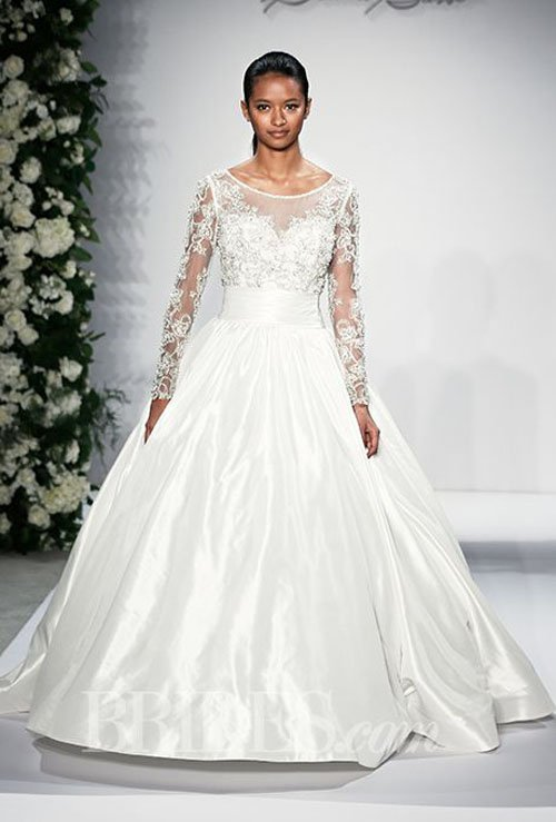 Dennis Basso Illusion Ball Gown in Satin