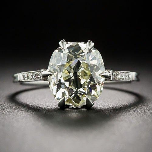 3.14 carat antique cushion-cut diamond solitaire