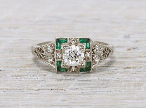 .40 diamond and emerald Art Deco