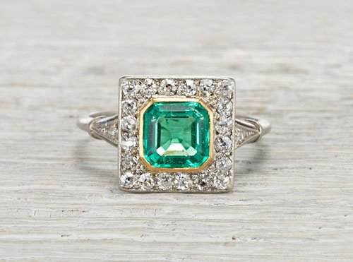 1.17 carat emerald and diamond Edwardian