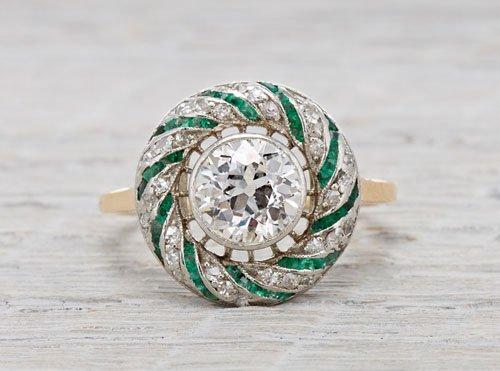 1.15 carat emerald and diamond Edwardian