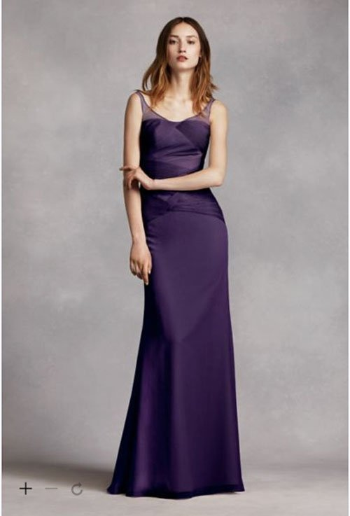 David's Bridal Long Crinkle Chiffon Column Gown with Sash by White by Vera Wang, $189.95
