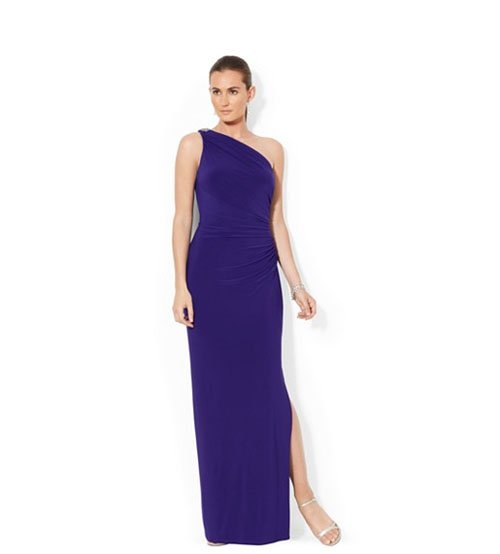 Lauren Ralph Lauren One-shoulder evening gown, $190 at Macy's (via ShopStyle)