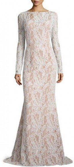 Carmen Marc Valvo Long-Sleeve Bateau-Neck Lace Gown, Ivory/Nude • Carmen Marc Valvo • $356