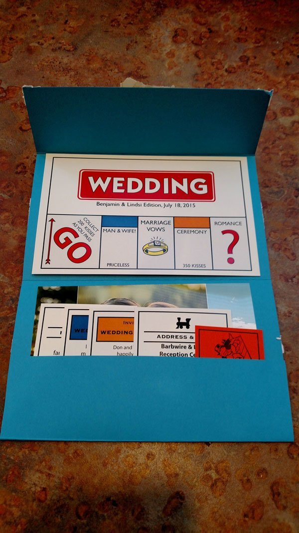 monopoly wedding invitations