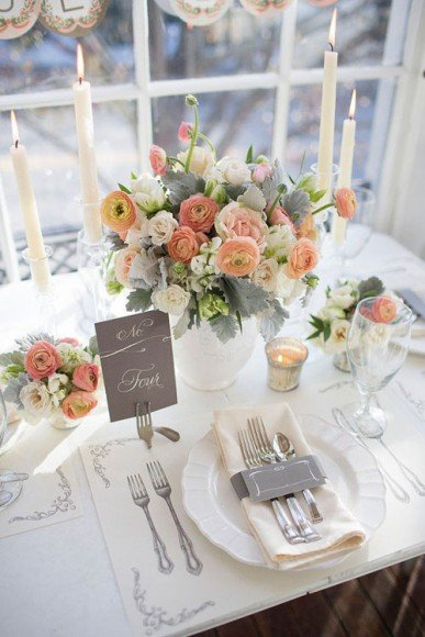 The peach tones look beautiful on this table setting. Photography and Styling by Pressed Cotton via Style Me Pretty