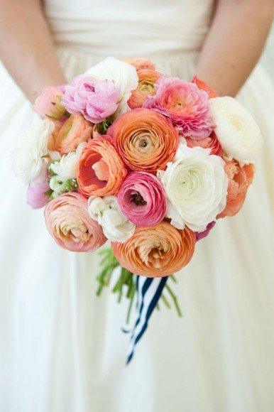 The stripe ribbon totally makes this bouquet. Via Style Me Pretty