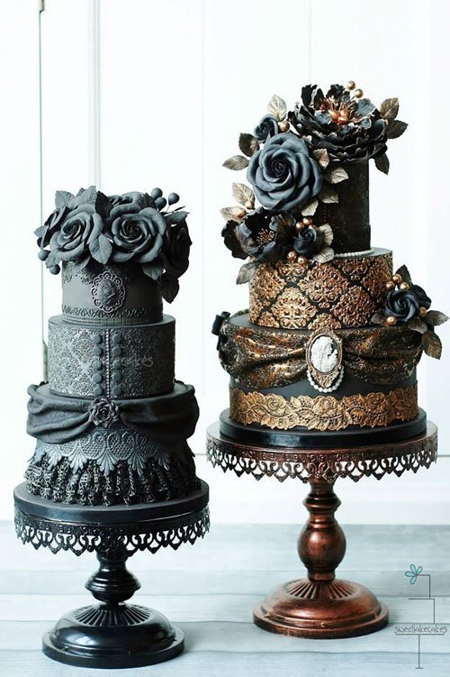 Dark and Dramatic Wedding Cake
