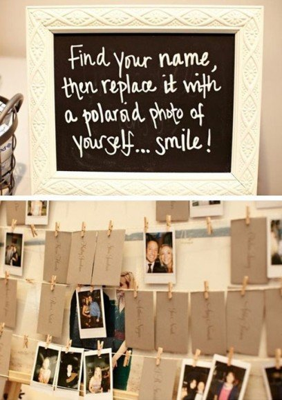 Have guests snap their photo and hang it on the line. Via
