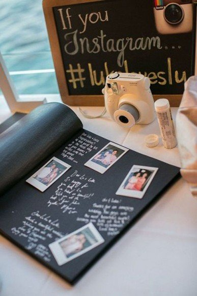 Guests snap their photo and put it in a photo album next to their well wishes. Via