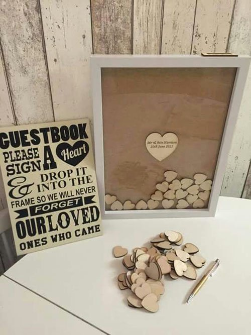 Wood Hearts in a Frame