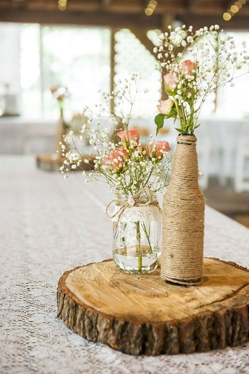 20 budget friendly wedding centerpieces Unique Rustic Centerpieces Burgundy Rustic Simple Centerpieces