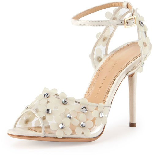 Charlotte Olympia Daisy PVC Ankle-Wrap Sandal • $492
