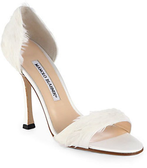 Manolo Blahnik Catalina D'Orsay Satin & Feather Pumps • $346