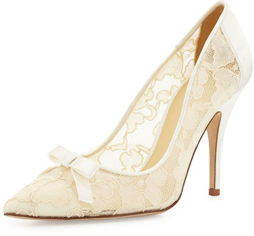 Kate Spade New York Lisa Lace & Satin Bow Pump, Ivory • $328
