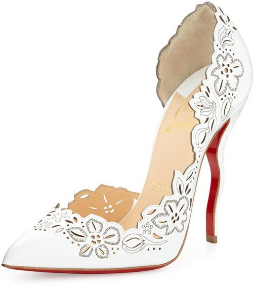 Christian Louboutin Beloved Laser-Cut Patent Red Sole Pump, White • $1,045
