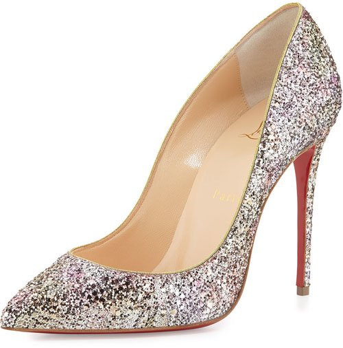 Christian Louboutin Pigalle Follies Glitter Red Sole Pump, Rosette/Gold • $695