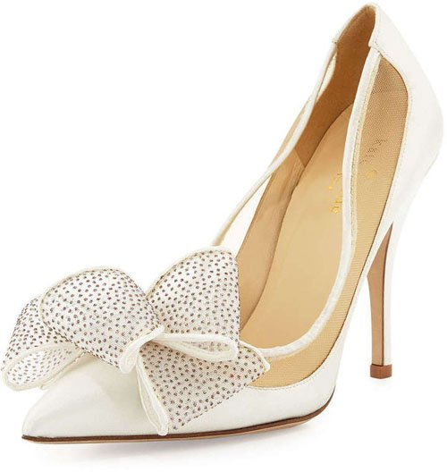 Kate Spade New York Lovely Satin Bow Pump, Ivory • $350