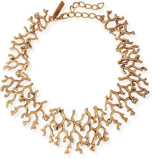 Oscar de la Renta Golden Coral Branch Necklace • $297