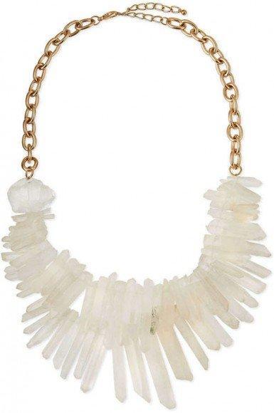 Panacea Two-Strand Prism Bib Necklace, White • $95