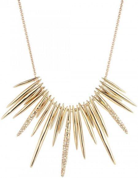 Alexis Bittar Golden Crystal Spike Bib Necklace • $245