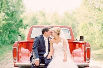 bride and groom country