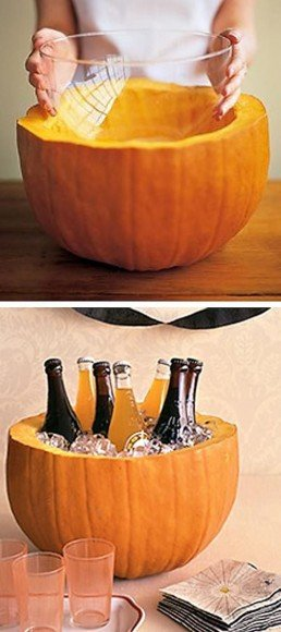 Pumpkins are perfect for keeping beverages cold (and also make for great flower vases!).