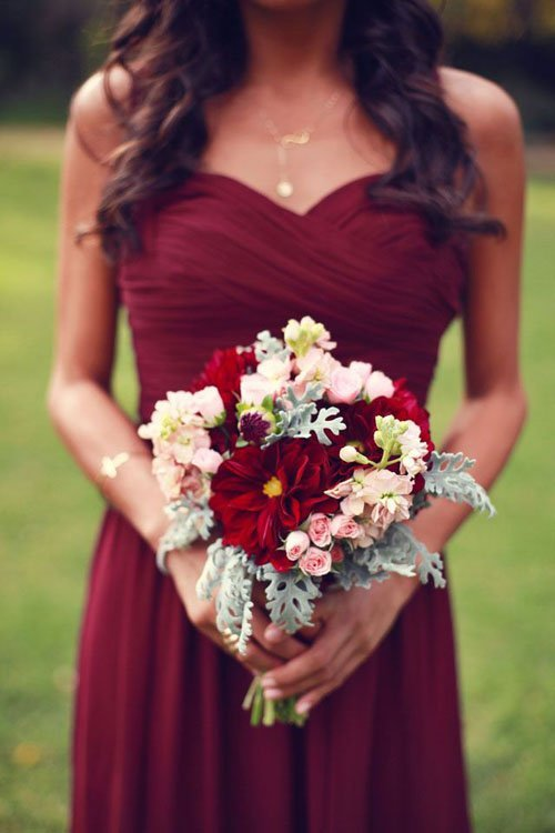 Marsala Bridesmaid Dresses and Flowers