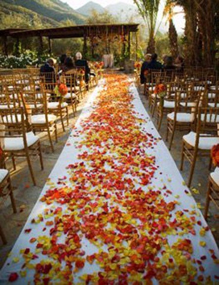 Decorate your ceremony aisle with dried leaves (real or fake).  Via