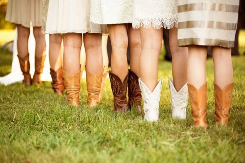 Cowboy boots are the ultimate wedding shoes for rustic fall weddings. Photo  by