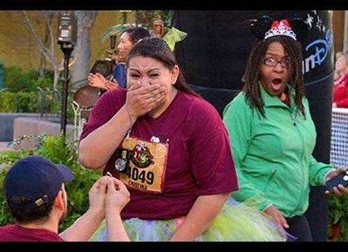 One bystander was clearly very impressed with the bling. Via  Larry Rhodes/RunDisney via ABC