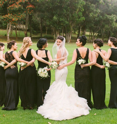 Black will perfectly complement your wedding dress