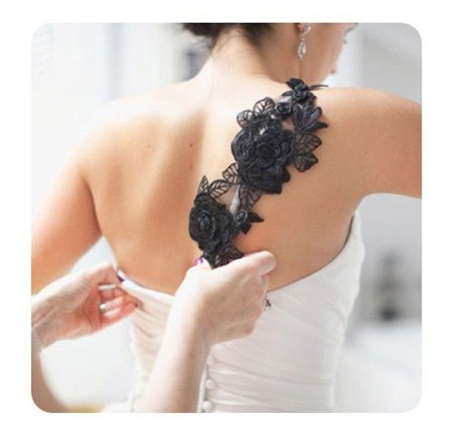 Black Wedding Dress Accent