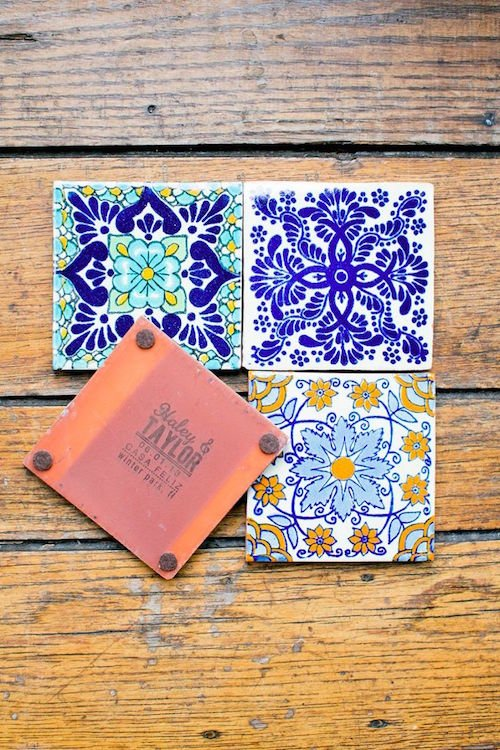 Personalized Mexican tiles make great coasters/wedding favors
