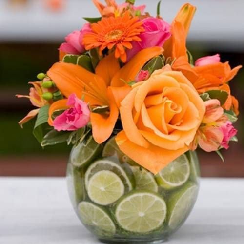 Use limes in your flower centerpieces