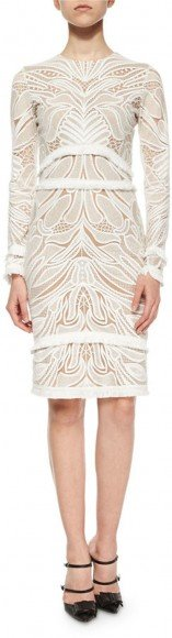 Alexis Chester Lace Long-Sleeve Sheath Dress, White • Alexis • $437