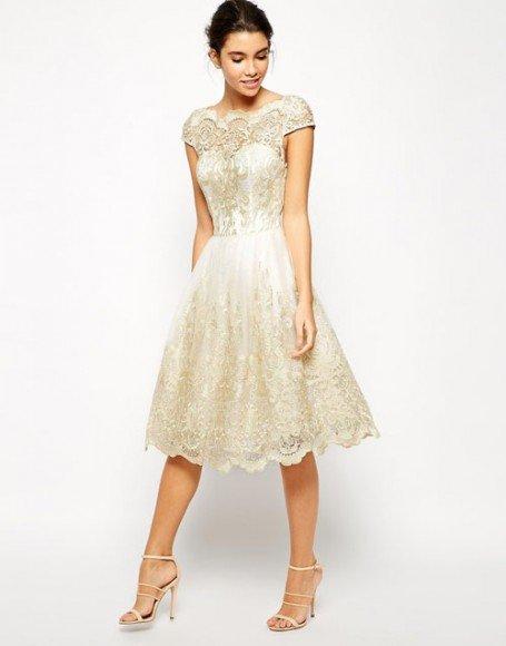 Chi Chi London Premium Metallic Lace Midi Prom Dress with Bardot Neck • Bardot • $121