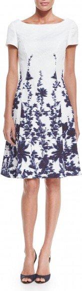 Carolina Herrera Short-Sleeve Floral-Print A-Line Dress, Navy/Ivory • Carolina Herrera • $2,490